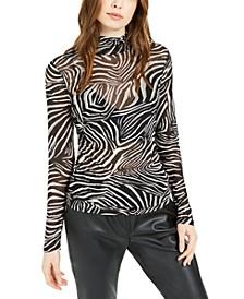 Zebra-Print Mesh Top, Created For Macy's