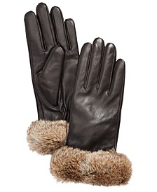 Leather Gloves with Rabbit Fur Cuff