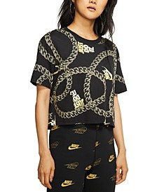 Women's Sportswear Glam Dunk Cotton Printed Cropped T-Shirt