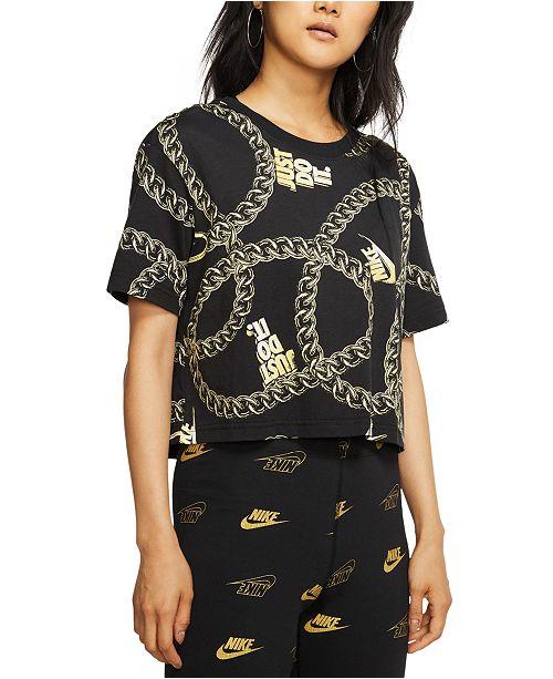 Nike Women's Sportswear Glam Dunk Cotton Printed Cropped T-Shirt