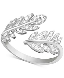 Cubic Zirconia Leaf Open Fine Silver Plate Ring