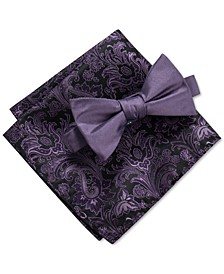 Men's 2-Pc. Payette Solid Pre-Tied Bow Tie & Paisley Pocket Square Set, Created For Macy's