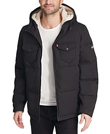 Levi's® Men's Quilted Mix-Media Puffer Jacket with Fleece-Lined Hood