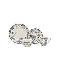 222 Fifth Adelaide Grey 16 Piece Dinnerware Set