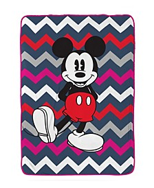 Mickey Mouse Chevron Fleece Blanket