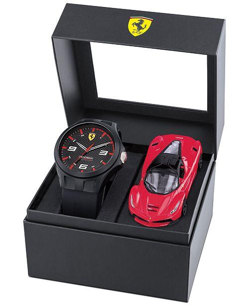 Ferrari Men's RedRev Black Silicone Strap Watch 44mm Gift Set