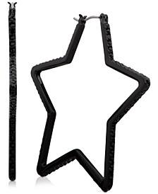"""Medium Pavé Star Hoop Earrings 1-3/4"""", Created For Macy's"""
