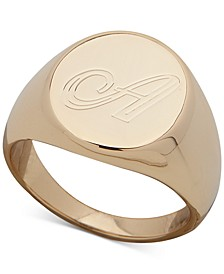"Gold-Tone Initial ""A"" Signet Ring"
