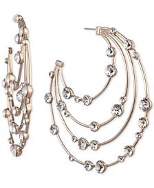 "Gold-Tone Crystal Large Layered Hoop Earrings 2-4/5"""