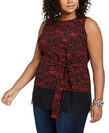 Plus Size Belted Lace-Trim Tunic