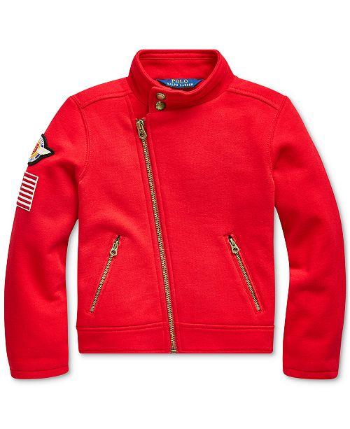 Polo Ralph Lauren Little Girl's Knit Cotton-Blend Moto Jacket, Created For Macy's