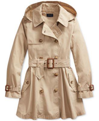 Big Girl's Water-Repellent Trench Coat