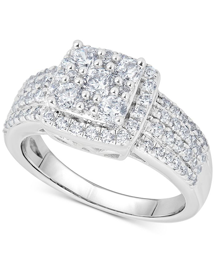 Macy's - Diamond Halo Cluster Engagement Ring (1 ct. t.w.) in 14k White Gold