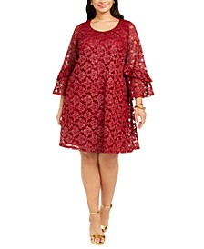 Plus Size Bell-Sleeve Lace Dress