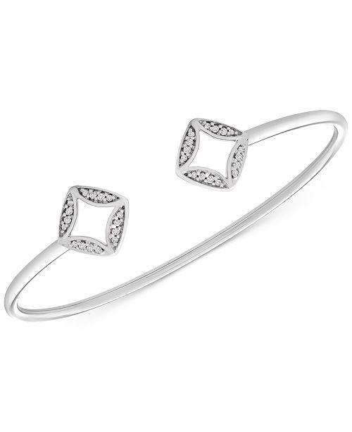 Macy's Diamond Rhombus Cuff Bracelet (1/10 ct. t.w.) in Sterling Silver