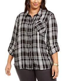 Plus Size Plaid Button-Front Top, Created for Macy's