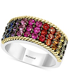 EFFY® Multi-Sapphire Statement Ring (2 ct. t.w.) in Sterling Silver & 18k Gold