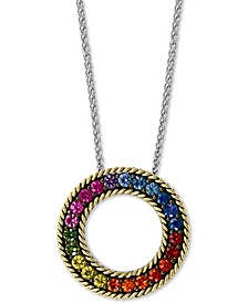"EFFY® Multi-Sapphire Circle 18"" Pendant Necklace (2-1/6 ct. t.w.) in Sterling Silver & 18k Gold"