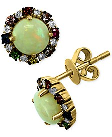 EFFY® Multi-Gemstone (1-1/3 ct t.w.) & Diamond (1/10 ct. t.w.) Stud Earrings in 14k Gold