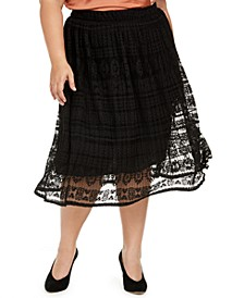 Trendy Plus Size Lace Midi Skirt