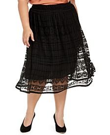 Trendy Plus Size Lace Midi Skirt