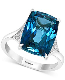EFFY® London Blue Topaz (9-1/10 ct. t.w.) & Diamond (1/6 ct. t.w.) Statement Ring in 14k White Gold