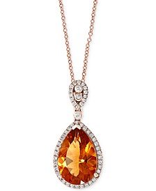 "EFFY® Citrine (5-1/3 ct. t.w.) & Diamond (1/4 ct. t.w.) 18"" Pendant Necklace in 14k Rose Gold"