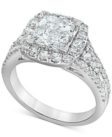 Diamond Princess Halo Engagement Ring (2 ct. t.w.) in 14k White Gold