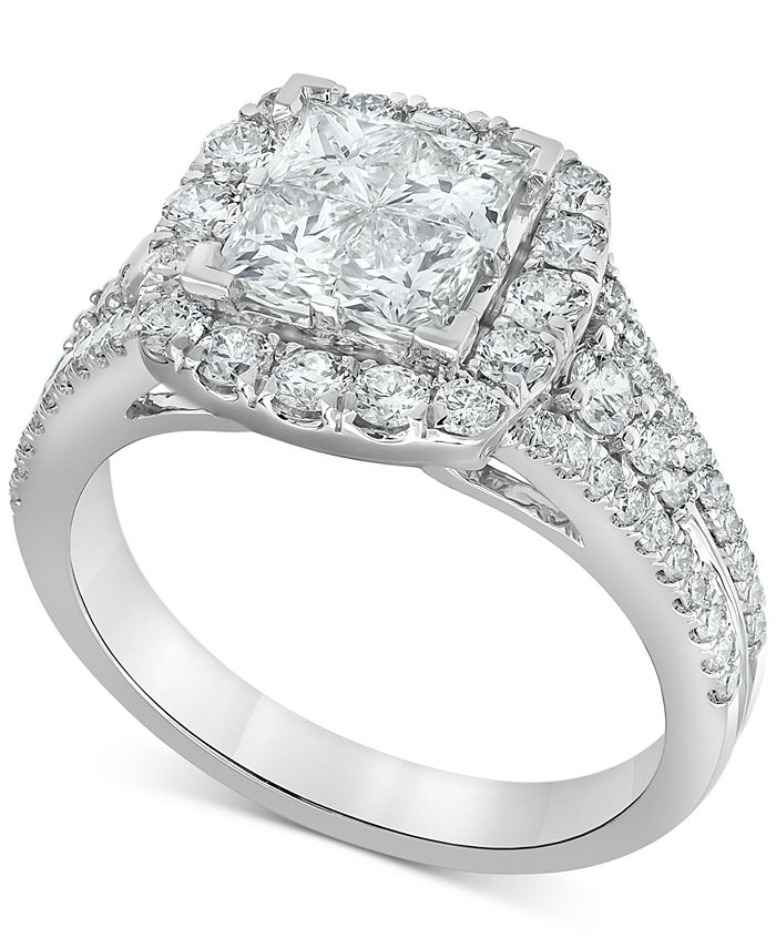 Macy's - Diamond Princess Halo Engagement Ring (2 ct. t.w.) in 14k White Gold