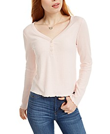 Juniors' Cozy Henley Top