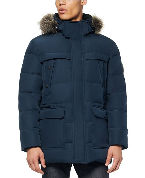 Marc New York Men's Pembroke Down Filled Parka with Faux Fur Trimmed Hood
