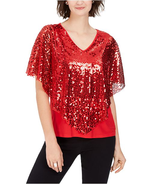 NY Collection Petite V-Neck Poncho Top