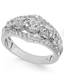 Diamond Five Stone Openwork Ring (1 ct. t.w.) in 14k White Gold