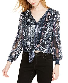 INC Petite Printed Tie-Hem Blouse, Created For Macy's