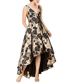Floral-Print High-Low Gown