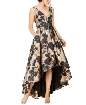 Eliza J Floral Jacquard High-low Gown In Gold/black Floral