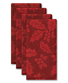 Holly & Berry Woven Red Damask Napkins, Set of 4