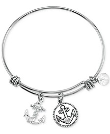 Crystal Anchor Charm Bangle Bracelet in Stainless Steel