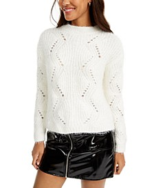 Juniors' Pointelle Chenille Sweater