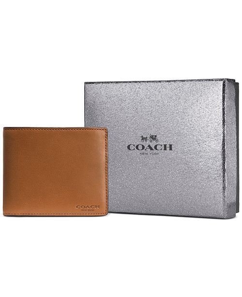 COACH Men's Sport Leather Compact ID Wallet