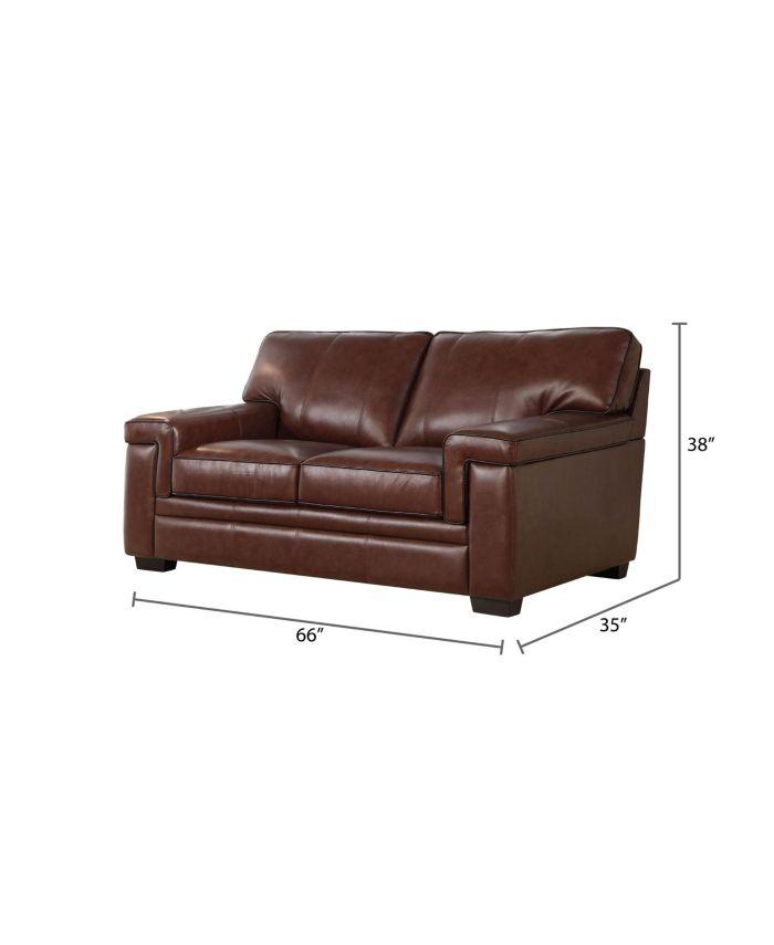 Abbyson Living Harper Leather Loveseat & Reviews - Furniture - Macy's