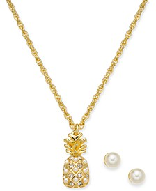 "Gold-Tone Crystal & Imitation Pearl Pineapple Pendant Necklace & Stud Earrings Boxed Set, 17"" + 2"" extender, Created for Macy's"