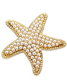 Gold-Tone White Imitation Pearl Starfish Box Pin, Created For Macy's