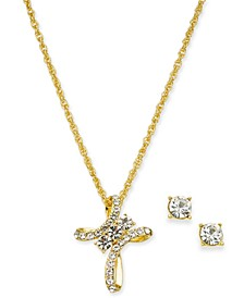 "Gold-Tone Pavé Crystal Cross Pendant Necklace & Stud Earrings Boxed Set, 17"" + 2"" extender, Created for Macy's"