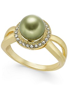 Pavé & Imitation Pearl Halo Split Ring, Created For Macy's