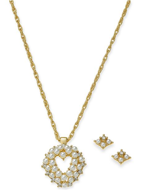 "Charter Club Gold-Tone Mini Imitation Pearl Heart Pendant Necklace & Stud Earrings Boxed Set, 17"" + 2"" extender, Created For Macy's"