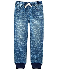 Toddler Boys Stretch Dino-Print Denim Joggers, Created For Macy's