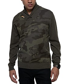 Men's Shawl-Collar Camo Sweater