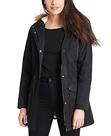 Women's Hooded Fishtail Parka With Faux-Fur Trim