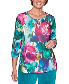 Bright Idea Watercolor-Print Embellished Top